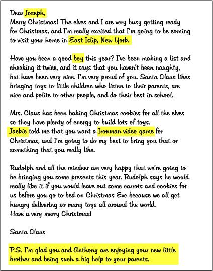 Personalized santa letter sample santa letter text spiritdancerdesigns Gallery